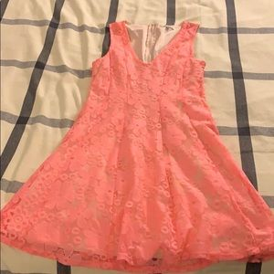 Bright pink skater lace dress